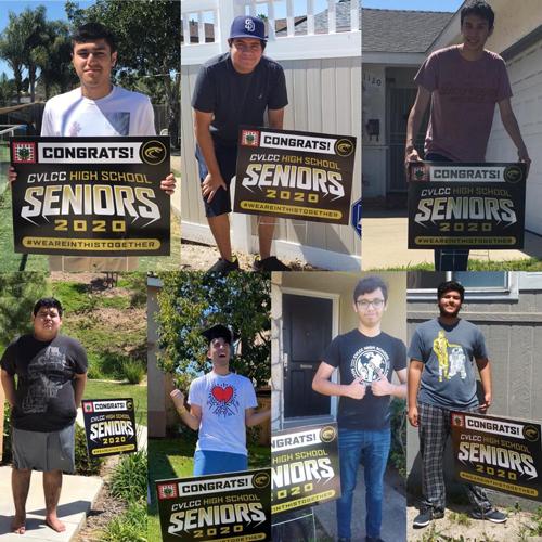 CVLCC seniors holding congratulatory yard signs